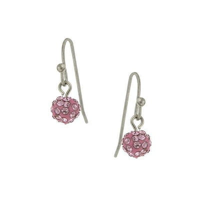 Silver-Tone Lt. Rose Pave 6Mm Drop Earrings