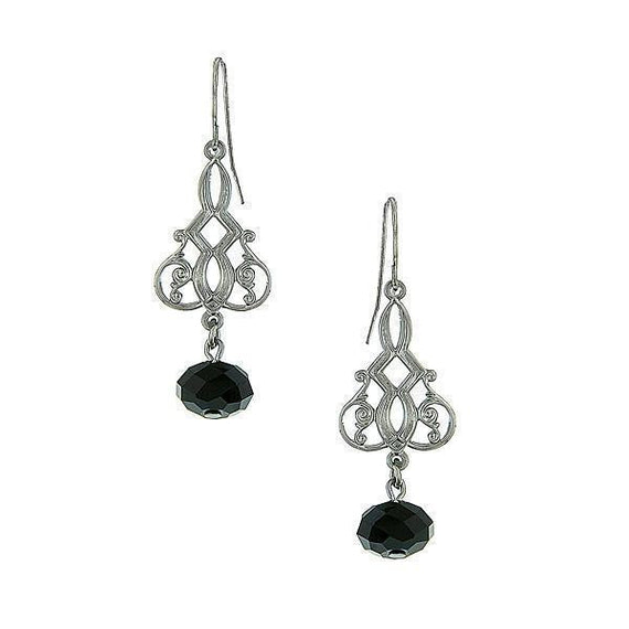 Silver-Tone Filigree Black Bead Drop Earrings