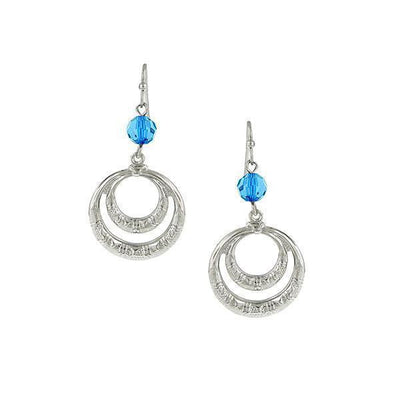Silver-Tone Blue Front Faced Hoop Earrings
