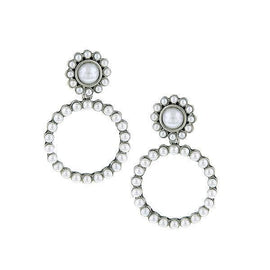 Silver-Tone Simulated White Pearl Front Faced Hoop Earrings