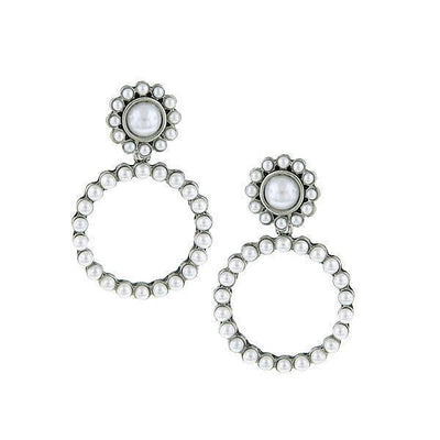 Silver-Tone  Costume White Costume Pearl Front Faced Hoop Earrings