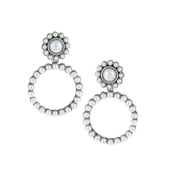 Silver Tone  Costume White Costume Pearl Front Faced Hoop Earrings