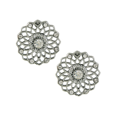 Silver Tone Crystal Filigree Large Button Earrings