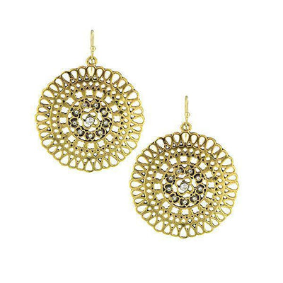 Gold Tone Crystal Large Round Filigree Earrings
