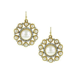 Gold-Tone Crystal and Simulated Cultura Pearl Round Drop Earrings