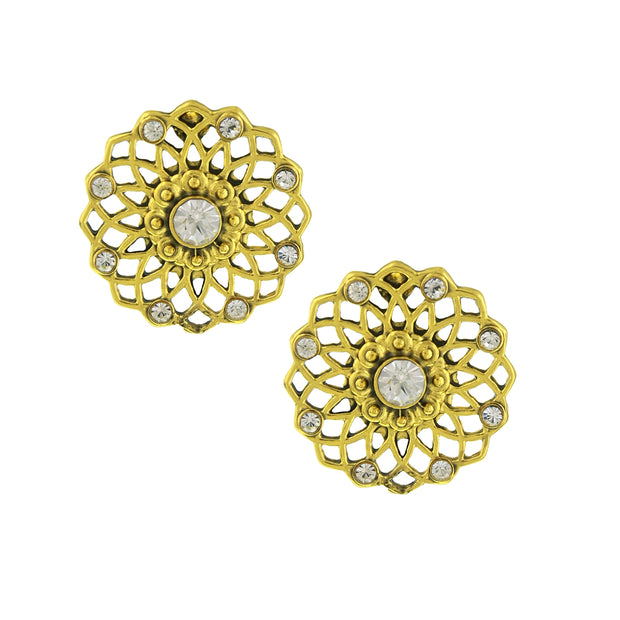 Gold Tone Crystal Large Filigree Button Earrings
