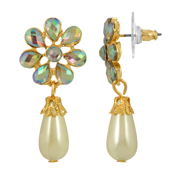 Gold-Tone Crystal AB and Costume Cultura Pearl Flower Drop Earrings
