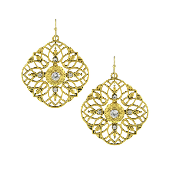 Gold Tone Crystal Large Filigree Earrings