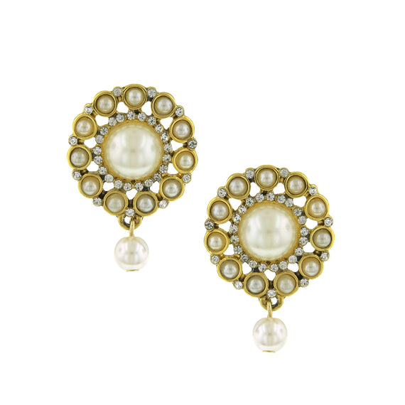 Fashion Jewelry - Gold Tone Crystal and Simulated Pearl Button Earrings
