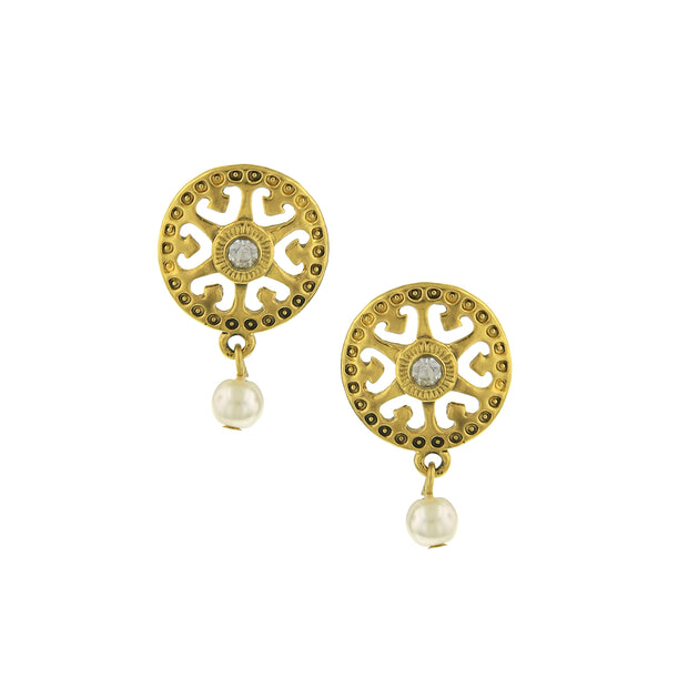 Gold-Tone Crystal And Costume Cultura Pearl Filigree Earrings
