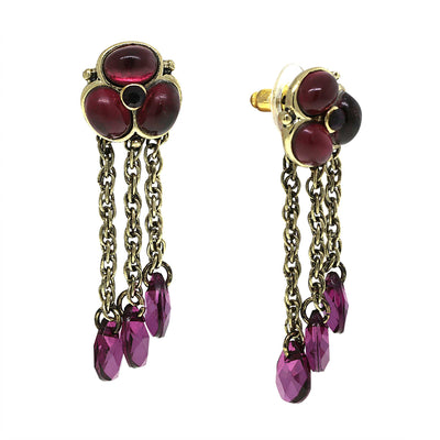 Briolette Purple Briolette Linear Drop Earrings