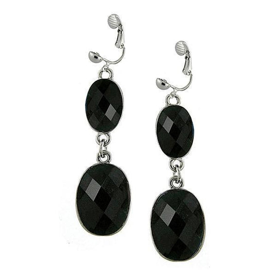 Silver-Tone Jet Faceted Oval Drop Earrings
