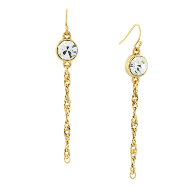 14K Gold Dipped Crystal Chain Linear Drop Earrings