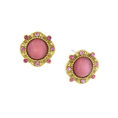 Gold Tone Pink Moonstone Round Button Earrings