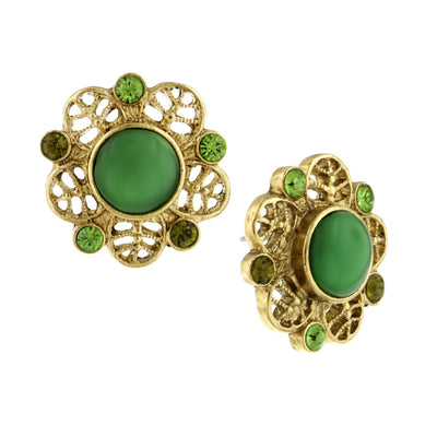 Gold Tone Green Moonstone Button Earring