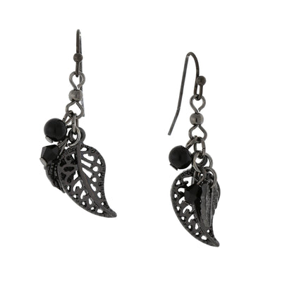 1928 Jewelry Black-Tone Leaf Drop Earrings