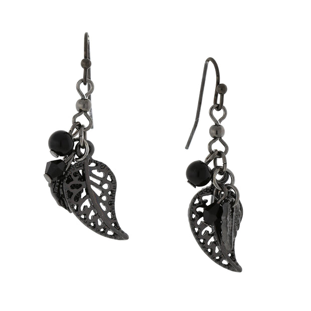 Black-Tone Leaf Drop Earrings