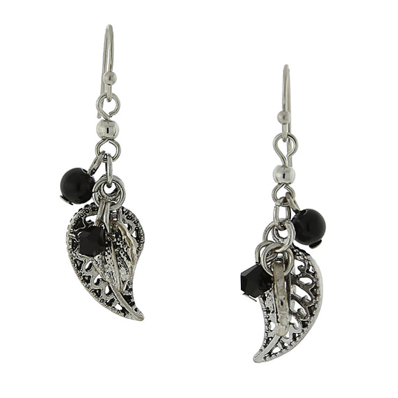 Fashion Jewelry - 2028 Silver Tone Hematite Crystal and Black Leaf Drop Earrings
