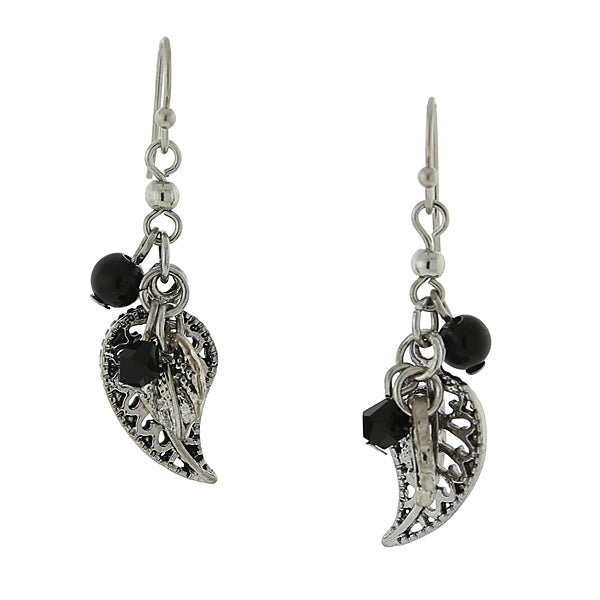 Silver Tone Hematite Color And Black Leaf Drop Earrings