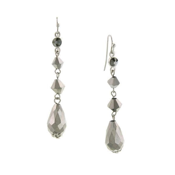 Silver-Tone Hematite Linear Drop Earrings