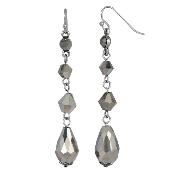 Silver Tone Hematite Linear Drop Earrings