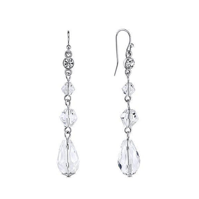 Silver Tone Crystal Linear Drop Earrings