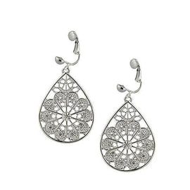 Silver-Tone Crystal Filigree Pear Shape Clip Earrings