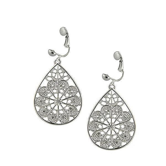 Silver-Tone Crystal Filigree Pearshape Earrings