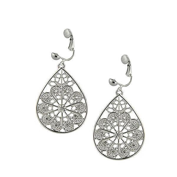 Silver-Tone Crystal Filigree Pear Shape Clip On Earrings