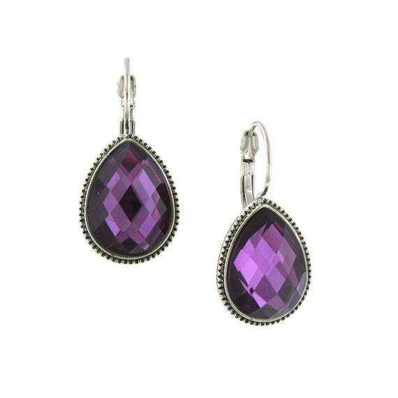 Fashion Jewelry - 2028 Silver Tone Amethyst Color Faceted Teardrop Earrings