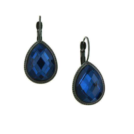 Jet Montana Faceted Teardrop Earrings