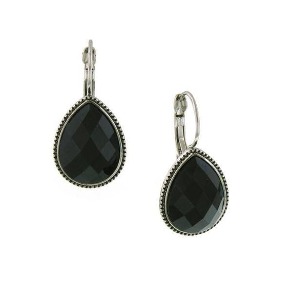 Silver Tone Black Faceted Teardrop Earrings