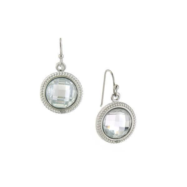 Silver Tone Crystal Round Faceted Drop Earrings