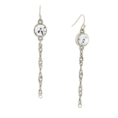Silver Tone Crystal Chain Linear Drop Earrings