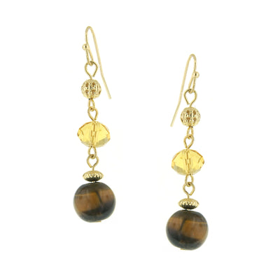 Gold-Tone Topaz Brown Cat Eye Drop Earrings