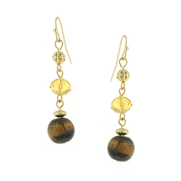 Gold Tone Topaz Brown Cat Eye Drop Earrings