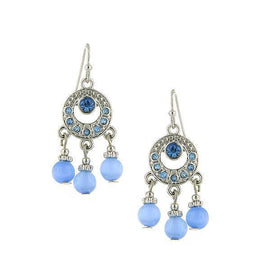 Silver-Tone Lt. Sapphire Blue Cat Eye Bead Drop Earrings