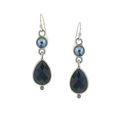 Silver-Tone Lt. Sapphire Blue Teardrop Earrings