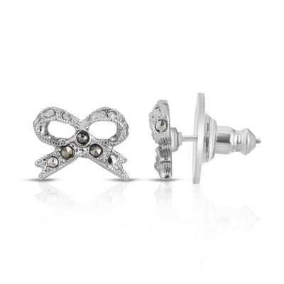 Silver Tone Marcasite Bow Stud Earrings