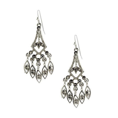 Silver-Tone Hematite Color Chandelier Drop Earrings