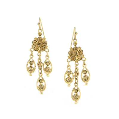 Gold-Tone Topaz Chandelier Drop Earrings