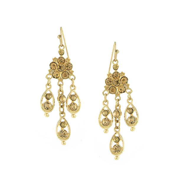 Gold Tone Topaz Chandelier Drop Earrings