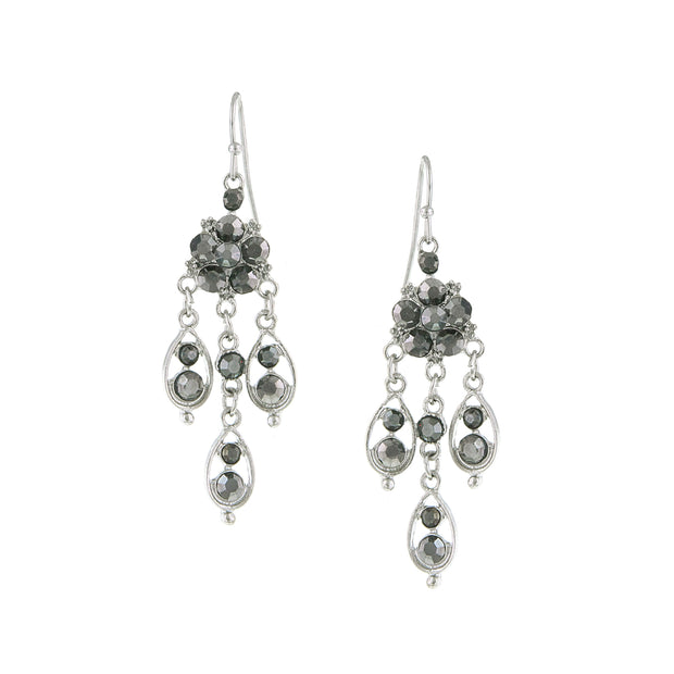 Silver-Tone Hematite Chandelier Drop Earrings