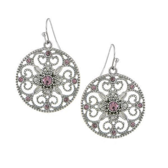 Silver-Tone Amethyst Purple Round Filigree Drop Earrings