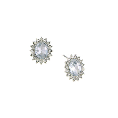 Silver Tone Crystal Faceted Button Earrings