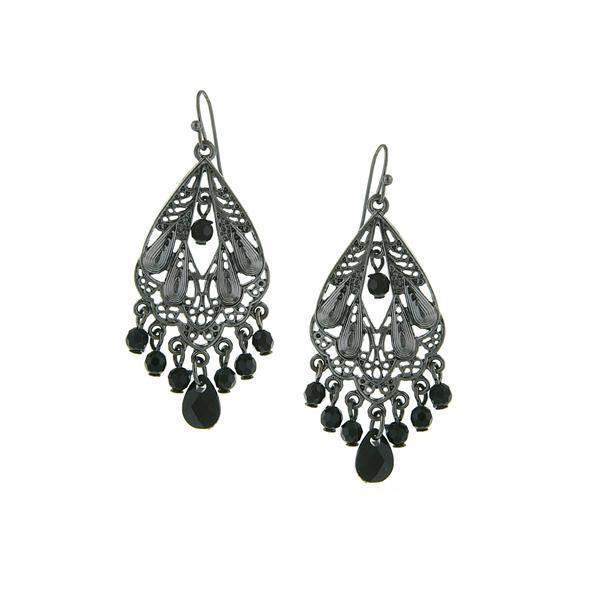 Black Tone With Black Faceted Bead Chandelier Earrings