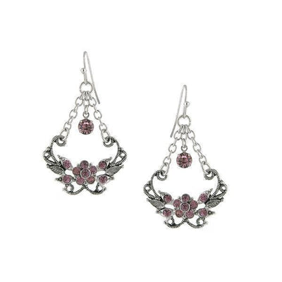 Silver Tone Amethyst Color Caged Drop Earrings