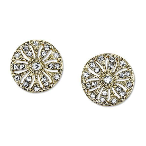 Gold Tone Crystal Disk Button Earrings