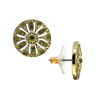 Gold-Tone Olivine Green Disk Button Earrings