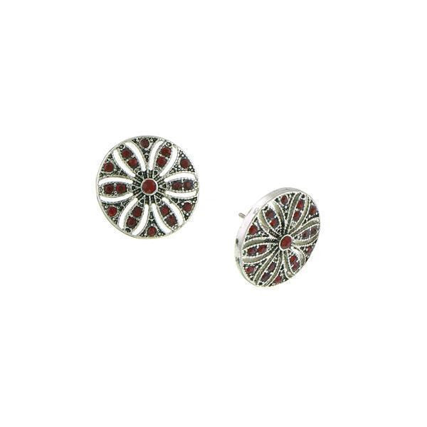 Silver-Tone Siam Red Disk Button Earrings
